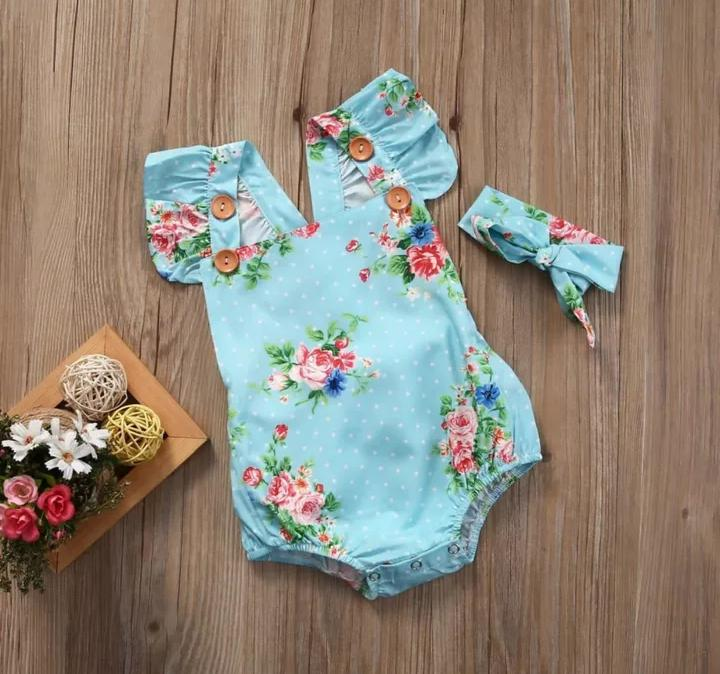 Buttoned Floral Romper with Headband