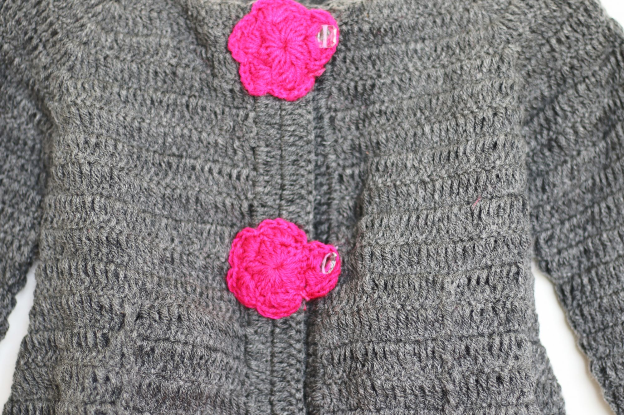 Grey Frock with Pink Flowers