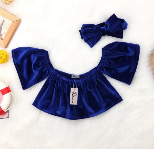 Cold Shoulder Blue Velvet Top With Headband