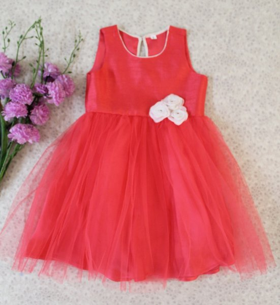 Coral Red frock