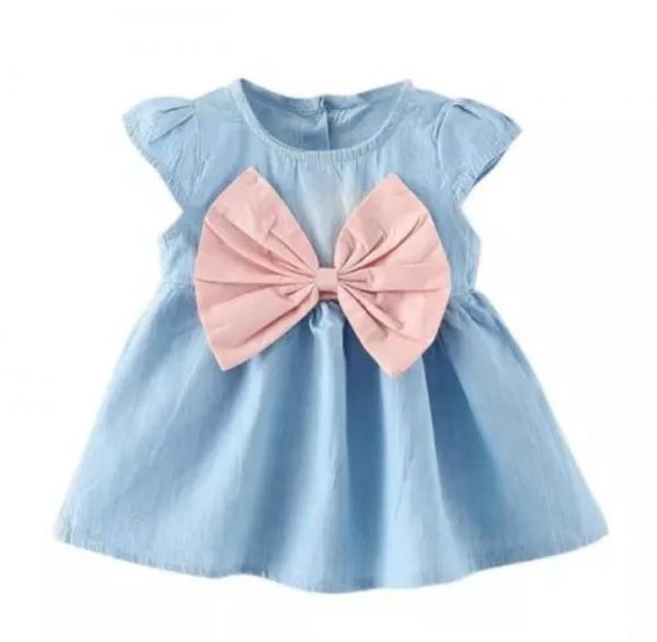 Cotton  Frock With Pink Bow