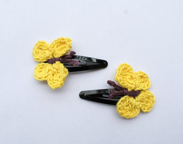 Handmade Crochet Butterfly Tic Tac Hair Pins for Girls - Yellow | Woonie