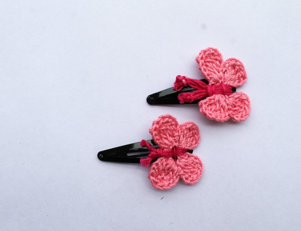 Handmade Crochet Butterfly Tic Tac Hair Pins for Girls - Pink | Woonie