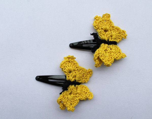 Handmade Crochet Butterfly Tic Tac Hair Pins for Girls- Mustard|Woonie
