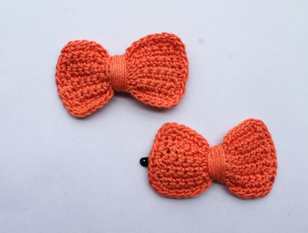 Handmade Crochet Bow Tic Tac Hair Pins for Girls - Orange | Woonie
