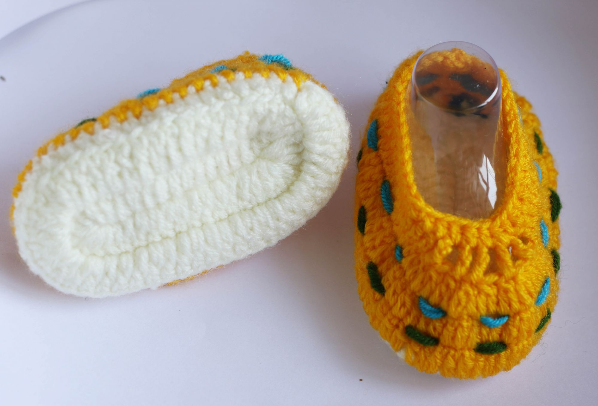Woonie Yellow Handmade Woolen Booties