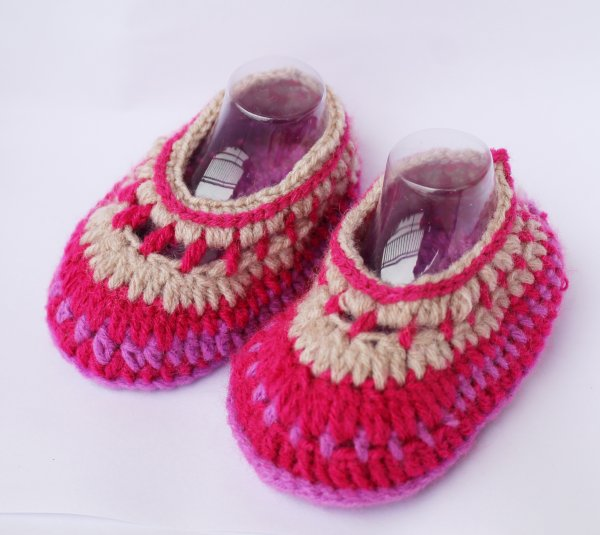 Woonie Multicolored Handmade Woolen Booties