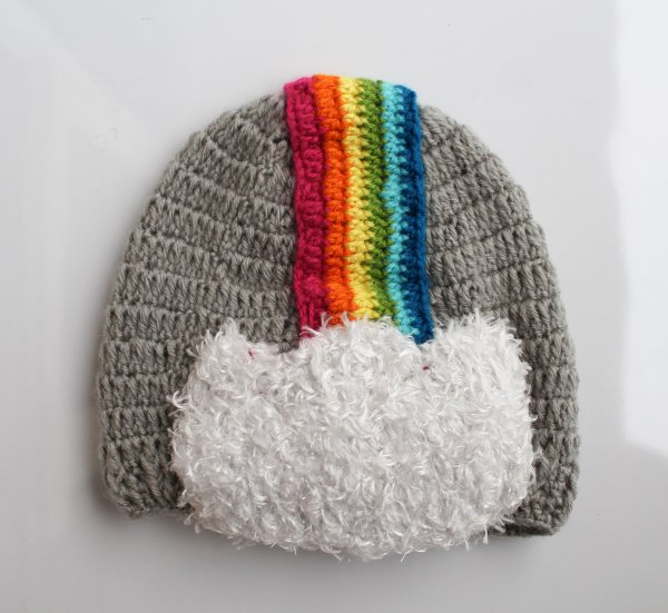 Multicolored Rainbow Woolen Cap for Infants