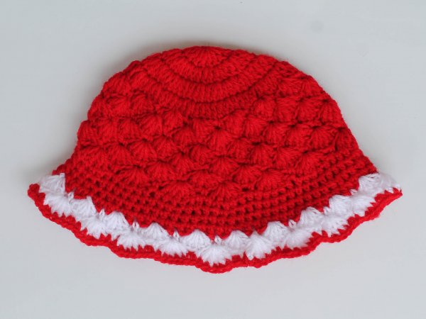 Handmade Red Woolen Cap for Infants