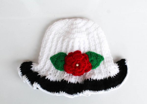 White and Black Floral Woolen Cap for Infants