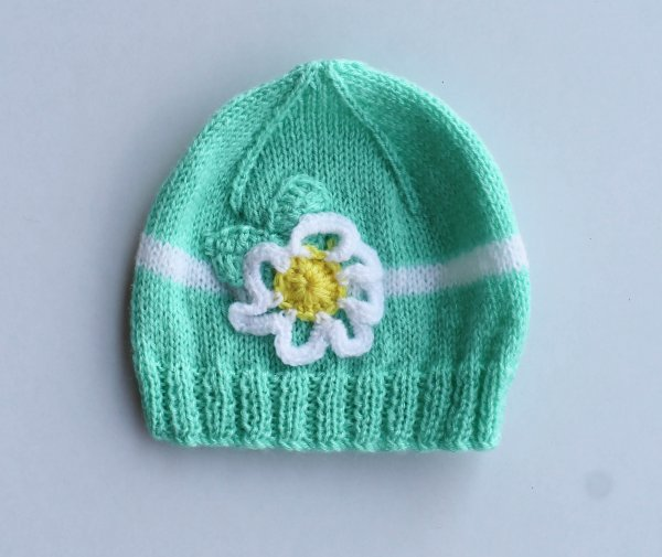 Knitted Floral Green Woolen Cap for Infants