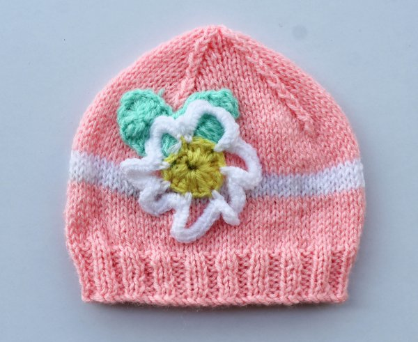 Knitted Floral Pink Woolen Cap for Infants