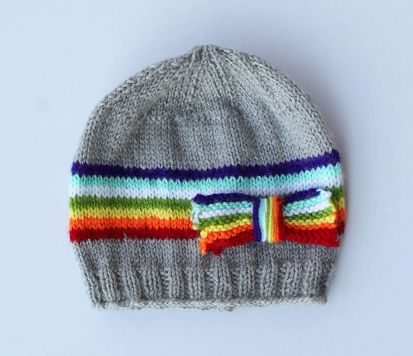 Grey Colorful Bow Woolen Cap for Infants