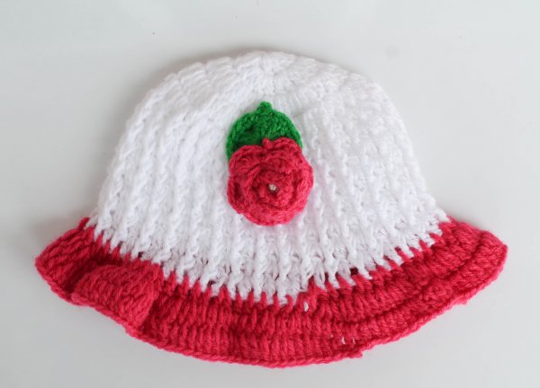 White Floral Woolen Cap for Infants