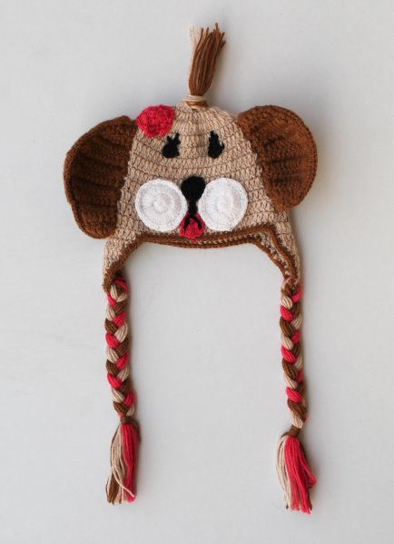 Brown Dog Woolen Cap for Infants