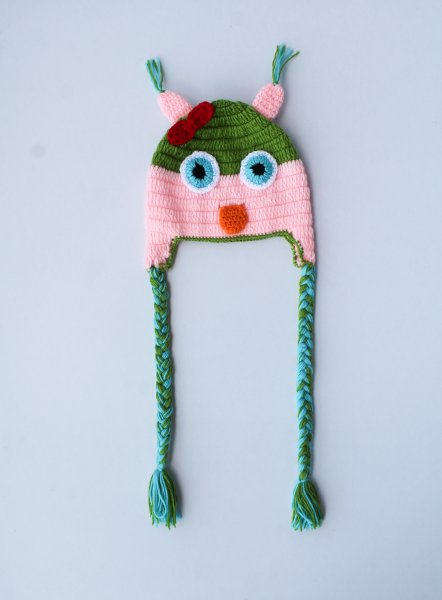 Pink and Green Bird Woolen Cap for Infants