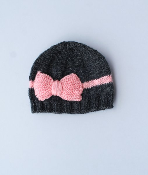 Grey and Pink Bow Woolen Cap for Infants