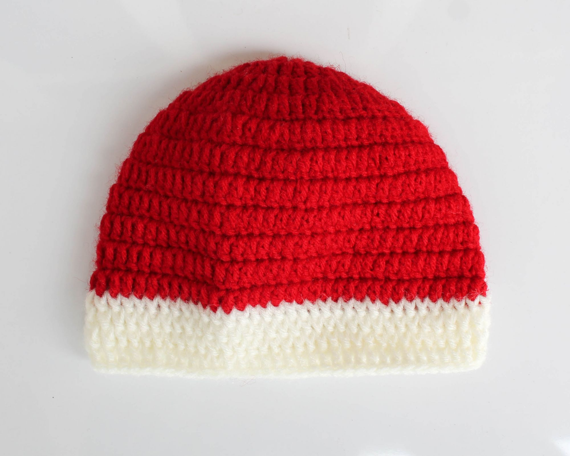 Red and Cream Woolen Cap for Infants