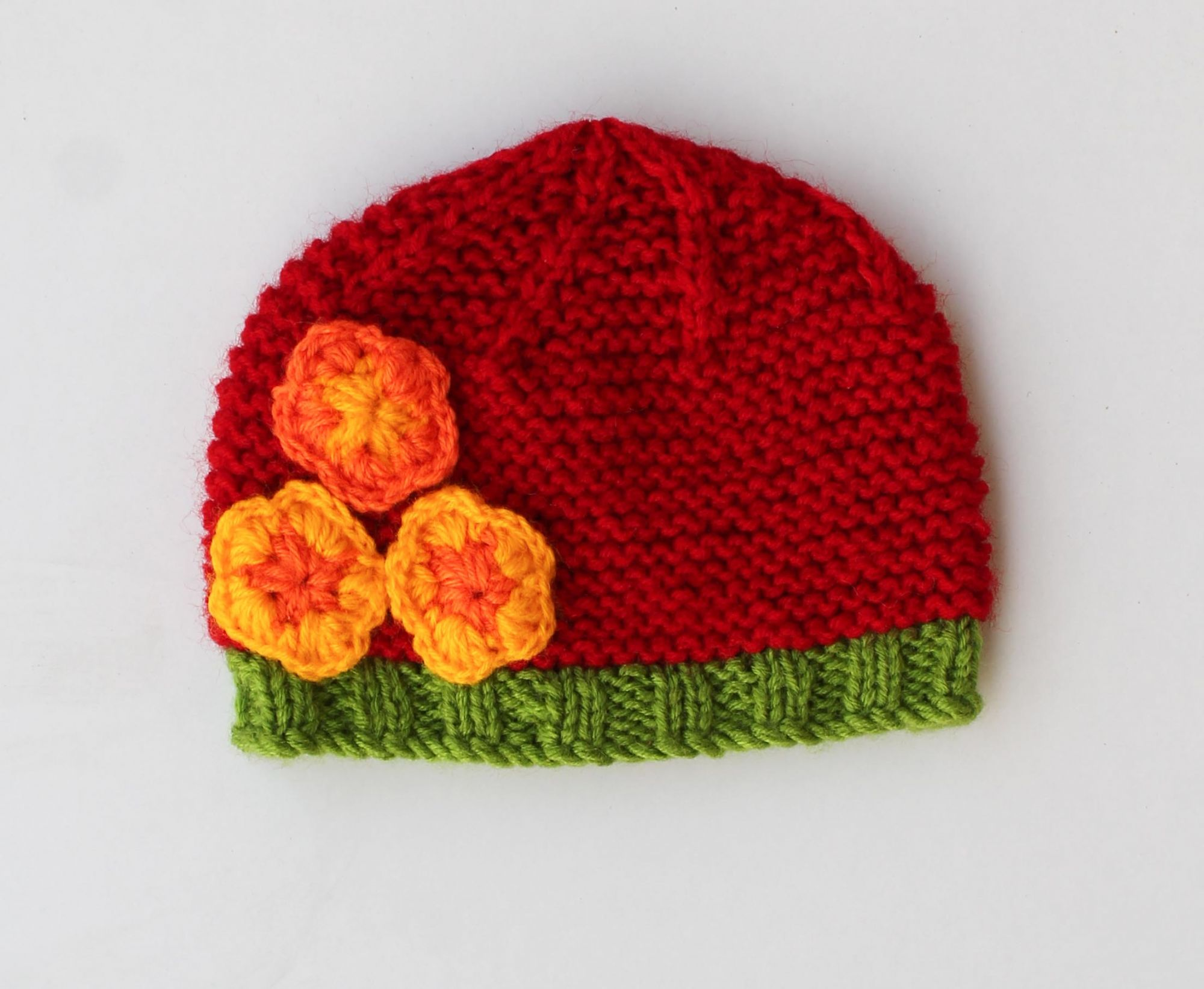 Knitted Floral Woolen Cap for Infants
