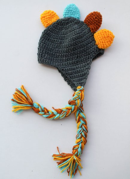 Multicolored Dinasaur Woolen Cap for Infants