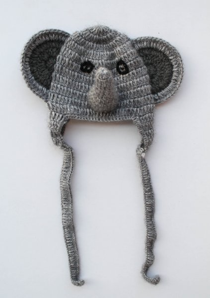 Grey Elephant Woolen Cap for Infants