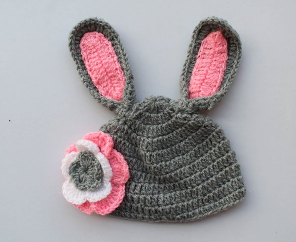 Grey Bunny Woolen Cap for Infants