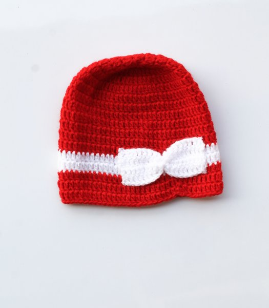 Red Bow Cap for Infants