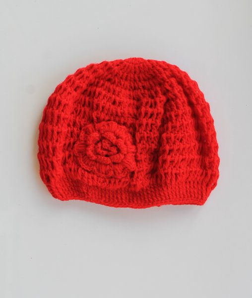 Red Puff Cap for Infants