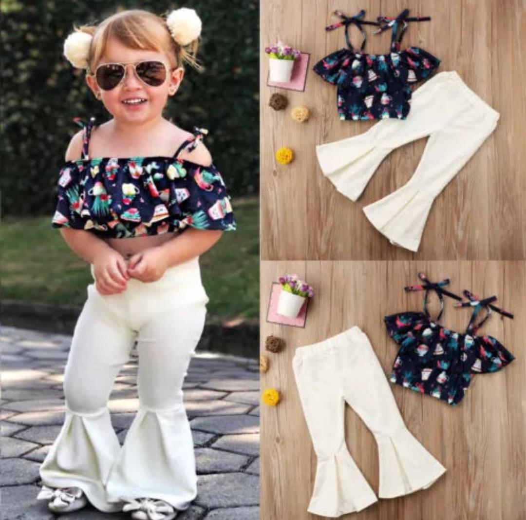 Cream BellBottom With Straped Crop Top