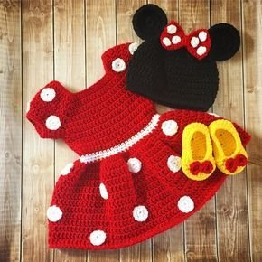 Stylish Red Mini Pattern Flare Frock with Cap and Booties