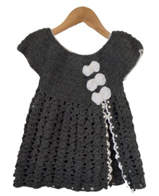 Grey Frock with Pearl Design