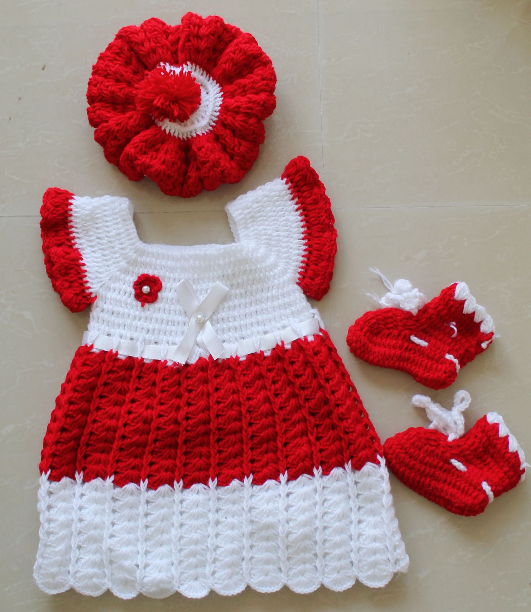 Red and White Frock with Cap and Booties