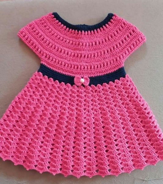 Pink and Black Sleeveless Frock