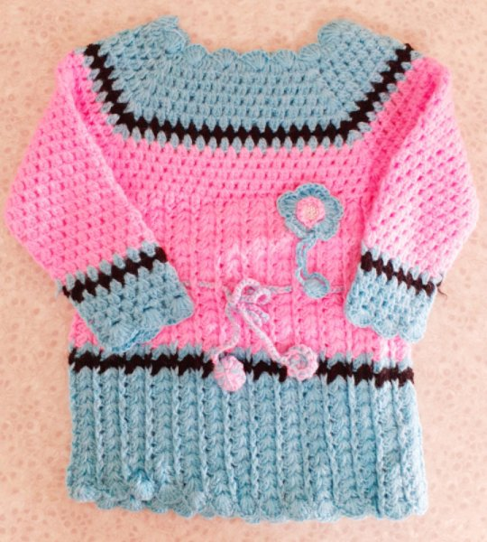 Pink and Blue Woolen Frock