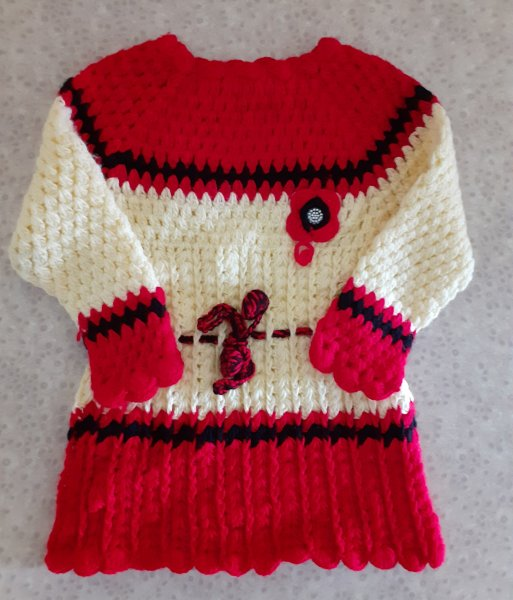 Red and Cream Woolen Frock