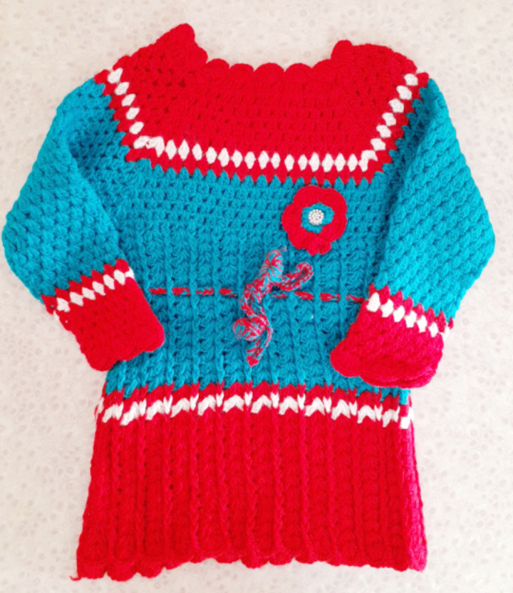 Red and Blue Woolen Frock