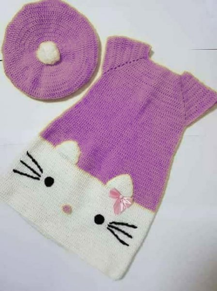 Purple Kitty Midi with Cap