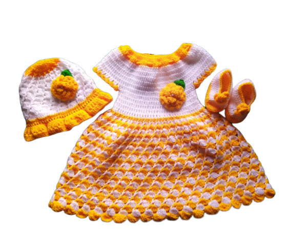 Woonie Handmade Woolen Yellow Frock Set for Girls