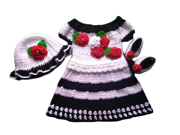 Woonie Handmade Woolen Black and White Frock Set for Girls