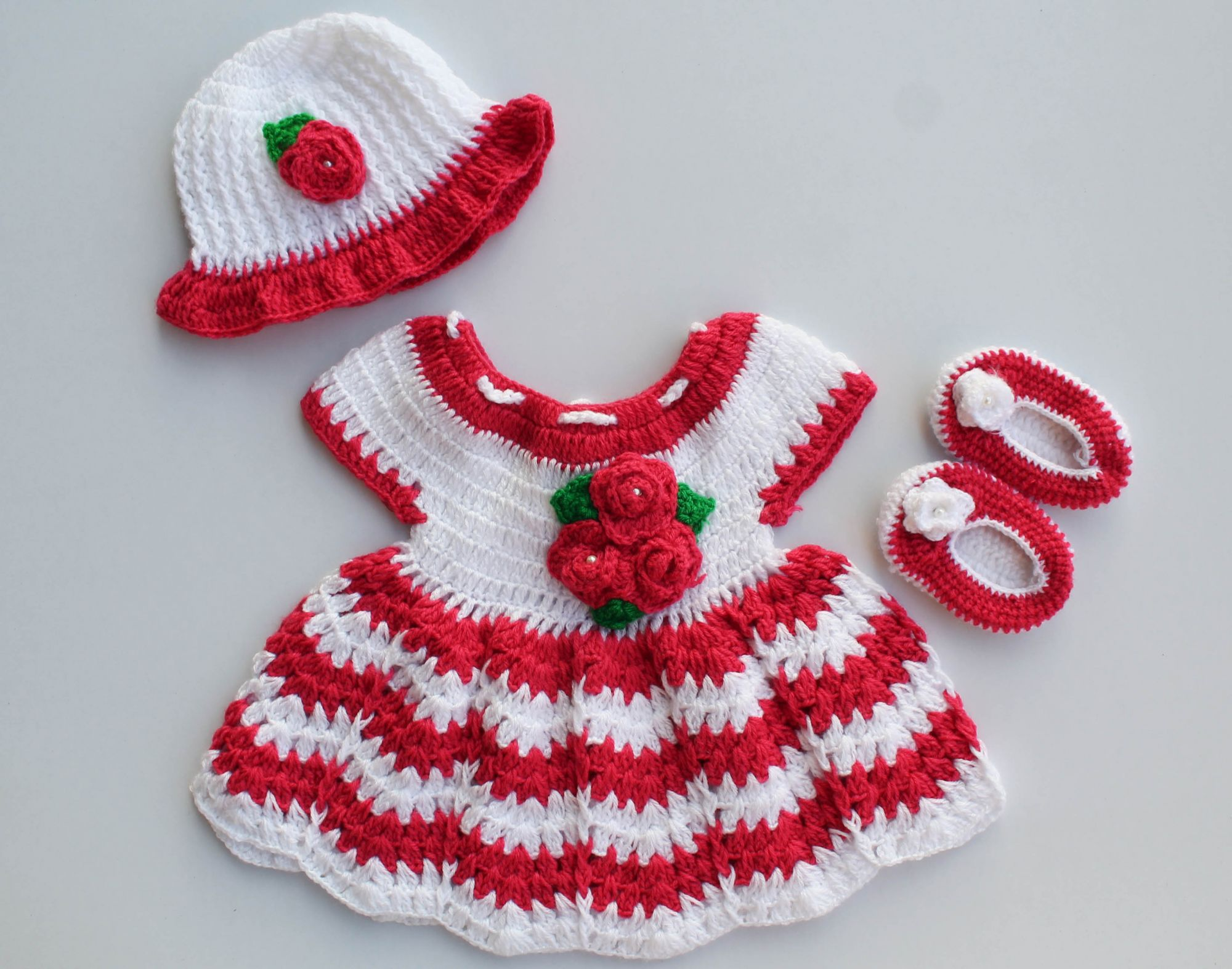 Woonie Handmade Woolen Pink and White Frock Set for Girls