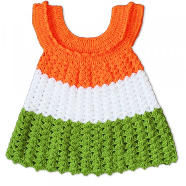 Woonie Handmade Woolen Tricolor Frock for Girls