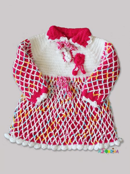 Woonie Handmade Woolen Red Fullsleeve Frock for Girls