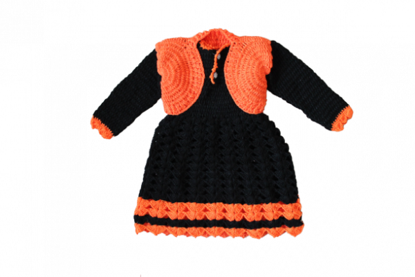 Woonie Handmade Woolen Black Frock with Orange Shrug Set for Girls