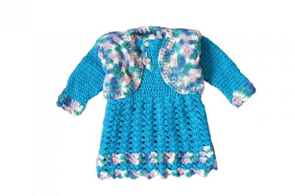 Woonie Handmade Woolen Blue Frock with Shrug Set for Girls