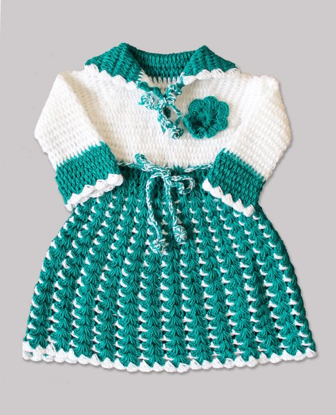 Woonie Handmade Woolen Green Frock for Girls