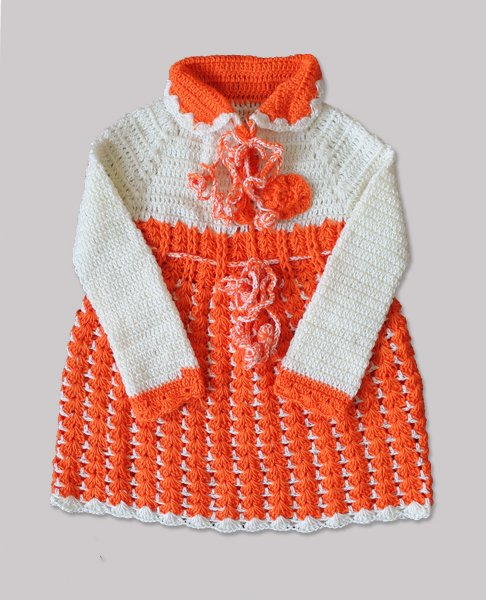 Woonie Handmade Woolen Orange Frock for Girls