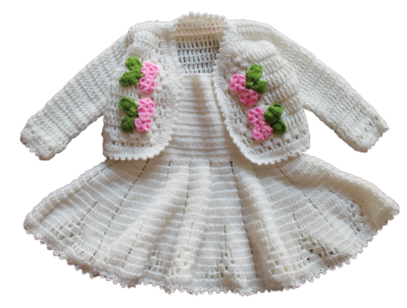 Woonie Handmade Woolen Cream Frock with Jacket Set for Girls