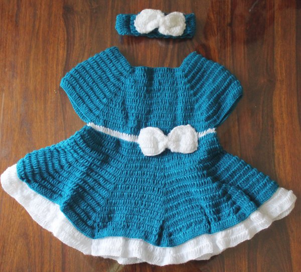 Blue and White Heavy Frill Frock with Headband and Booties