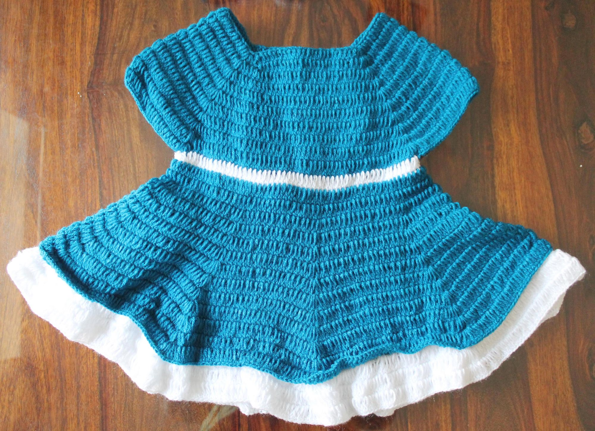 Woonie Handmade Woolen Blue Bow Frock with Headband Set