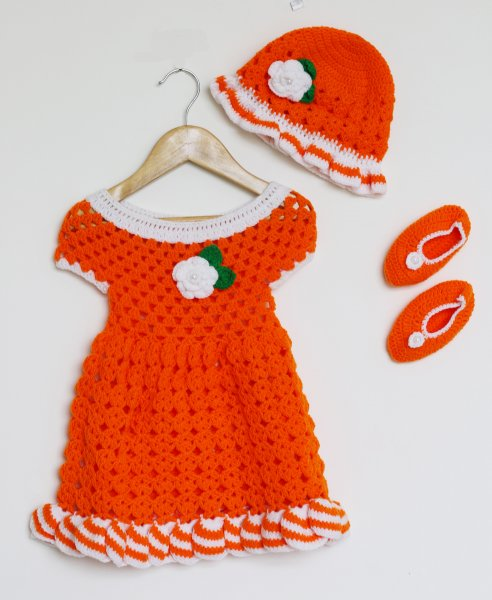 Woonie Handmade Woolen Orange Frock Set for Girls